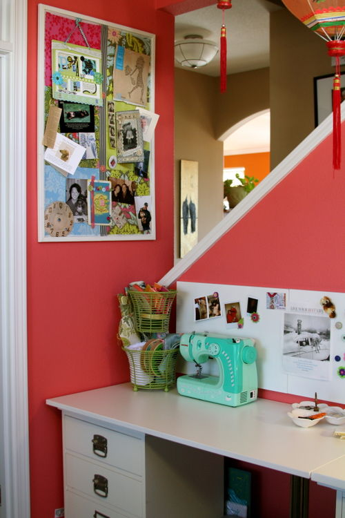 This area has my inspiration board, my Hello Kitty sewing machine that I use